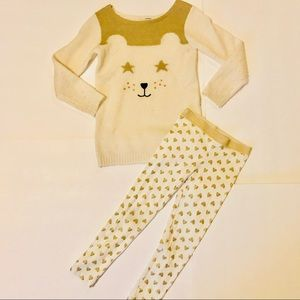 Carter's white and gold bear sweater & pants set